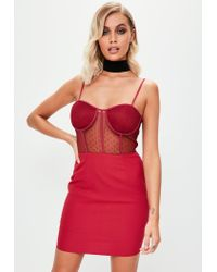 Missguided - Red Burgundy Strappy Bust Cup Dobby Lace Bodycon Dress - Lyst