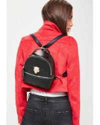 Missguided - Black Faux Leather Metallic Detail Backpack - Lyst