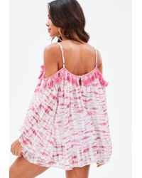 Missguided Pink Tie Dye Tassel Cover Up