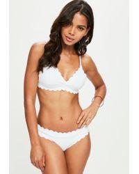 Missguided White Scallop Hipster Bikini Bottoms - Mix & Match