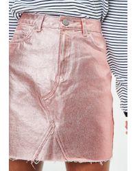 Missguided - Pink Rose Gold Metallic Raw Hem Mini Skirt - Lyst