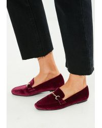 Missguided Multicolor Burgundy Faux Suede Loafer