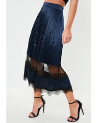 Missguided Blue Navy Lace Trim Midi Skirt