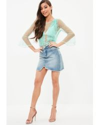 Missguided - Green Mesh Dobby Spot Lace Panel Blouse - Lyst