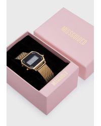 Missguided - Metallic Gold Digital Mesh Bracelet Watch - Lyst