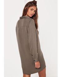 Missguided - Natural Oversized Shirt Dress Khaki - Lyst