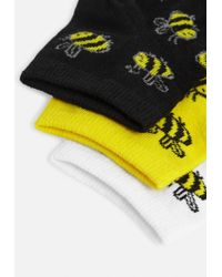 Missguided Yellow 3 Pack Bee Pattern Socks