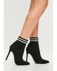 Missguided Carli Bybel X Black Pointed Striped Boots