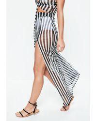 Missguided Black Striped Mesh Side Split Maxi Skirt