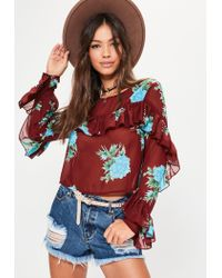Missguided Red Burgundy Print Long Sleeve Frilled Blouse