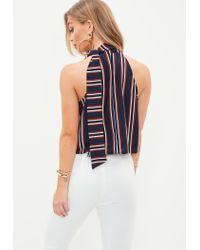 Missguided Blue Navy Tie Halter Neck Stripe Crop Top