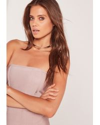 Missguided Metallic Thin Metal Choker Necklace Silver