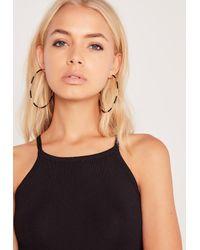 Missguided - Black Hoop Earrings Gold - Lyst