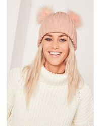 Lyst - Missguided Double Pom Beanie Hat Pink in Pink 0dcb4ab384c