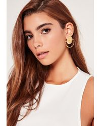 Missguided | Metallic Circle Geometric Earrings Gold | Lyst