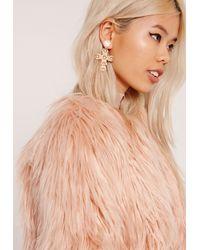 Missguided Pink Ornate Cross Earrings Gold