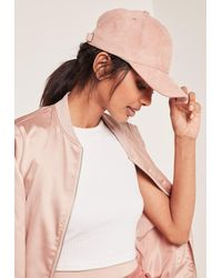 Missguided - Pink Faux Suede Baseball Cap - Lyst