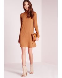 Missguided - Brown Turtle Neck Jersey Swing Dress Camel - Lyst
