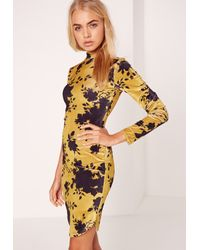 Missguided Green Long Sleeve Velvet Floral Bodycon Dress Yellow