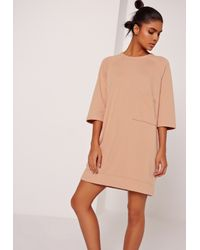 Missguided Multicolor Sarah Ashcroft Oversized Pocket Front Dress Nude