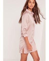 Missguided Pink Satin Front Split Shirt Dress Nude
