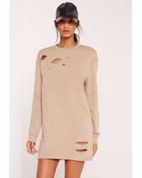Missguided Ripped Oversized Sweater Dress Grey in Natural | Lyst