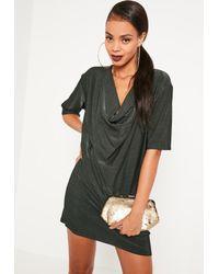 Missguided   Green Cowl Neck T-shirt Dress   Lyst
