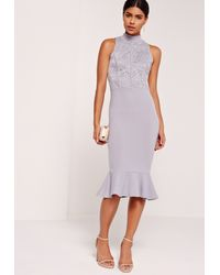 Missguided Gray Lace Top Fishtail Midi Dress Lilac