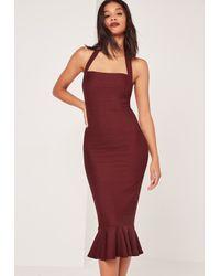 Missguided Purple Bandage Frill Hem Midi Dress Burgundy