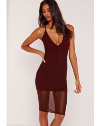Missguided Multicolor Strappy Mesh Jersey Midi Dress Burgundy