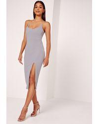 Missguided Gray Strappy Scoop Neck Midi Dress Grey
