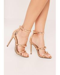 c90367575 Missguided Rose Gold Rounded Three Strap Barely There Sandals in ...
