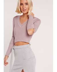 Missguided - Multicolor V Neck Elbow Slash Sweater Pink - Lyst