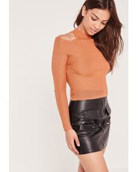 Missguided Multicolor Cold Shoulder Skinny Rib Sweater Pink