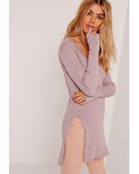 Missguided Multicolor V Neck Side Split Sweater Purple