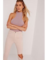 Missguided Multicolor Rib Detail Tank Top Purple
