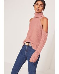 Missguided Blue Chunky Cold Shoulder Sweater Pink