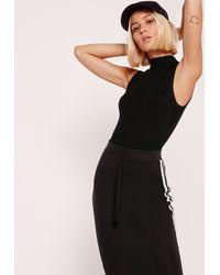 Missguided High Neck Sleeveless Bodysuit Black