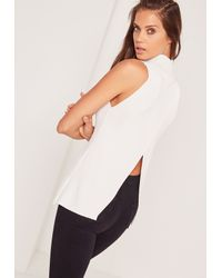 Missguided Wrap Back Tunic Top White