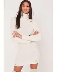 Lyst Missguided Distressed Turtle Neck Sweater Dress Cream In White