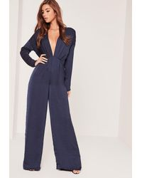 765f1e65818 Missguided Silky Long Sleeve Plunge Romper Navy in Blue - Lyst