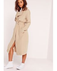 Missguided Natural Soft Touch Belted Trench Coat Nude