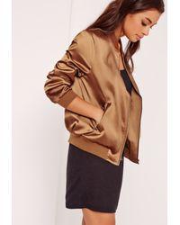 Missguided Brown Bronze Zip Pocket Satin Bomber Jacket