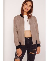 Missguided   Contrast Rib Faux Suede Bomber Jacket Brown   Lyst