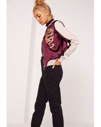 Missguided Purple Dragon Satin Bomber Jacket Burgundy