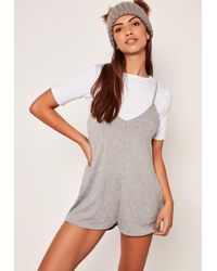 Missguided - Black 2 In 1 Playsuit Grey - Lyst