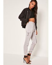 Missguided Gray Side Pocket D Ring Pants Grey