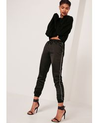 Missguided Piped Side Satin Joggers Black
