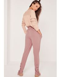 Missguided Lace Up Back Joggers Pink