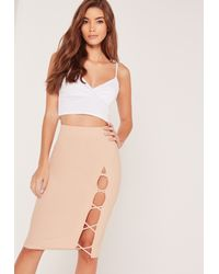 Missguided Criss Cross Side Midi Skirt Pink